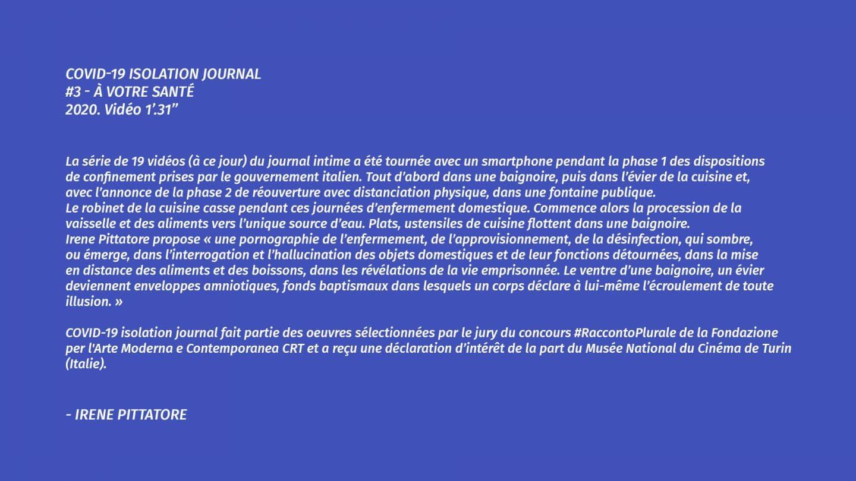 Covid-19 Isolation Journal #3 - À votre santé — Irene Pittatore
